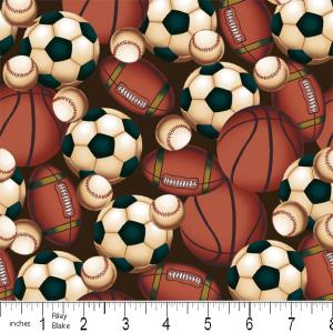 "Riley Blake Designs 15Yd Bolt 7.34 A Yd  C2514 Brown PlayBall 100% Cotton  45""Fabric"
