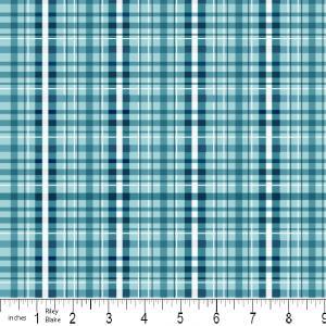 """Riley Blake Designs 15Yd Bolt 7.34 A Yd  C2515 Blue PlayBall  Plaid 100% Cotton  45""""Fabric"""
