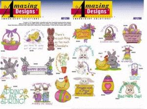 Amazing Designs 1290 Easter Collection II Embroidery Disk Eggs Easter Bunnies Chicks Spring Flowers Easter Lilies machine embroidery designs