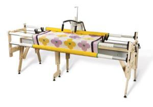 "Grace Gracie Queen 87"" to Crib 51"" Wide, Wood Quilting Frame, Height-Adjustable Legs, 2"" Ø x, 4 Bungee Clamps for Machines up to 18"" Longarm"