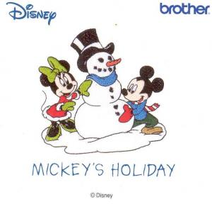 Brother SA308D Mickey's Holiday Disney Embroidery Card for PE170, PE180, PE400, NZ500, PC8500D, ULT 2002, ULT 2003