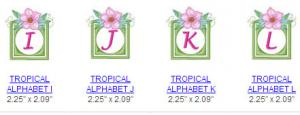 Great Notions 112454 Tropical Alphabet Multi-Formatted CD Embroidery Designs