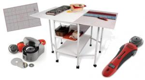 "Grace TrueCut Crafting and Cutting Table 50x37.4x32-38""High, GCTCRC 45mm Rotary Cutting Tool,  GTSPRS Electric Sharpener, GCM2436 Cutting Mat 24x36"""