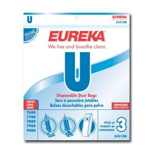 Eureka, 54310C-6, Style U, Vacuum Bags, for Eureka, 7600, 7700, 7900, and 9000 Series Uprights (6 pack)