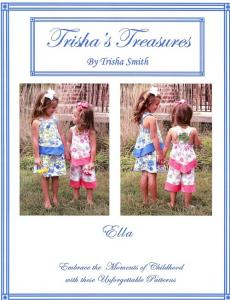 Trishas Treasures  tt-ella  Ella Banded Top With Skirt Or Capri Pattern Sizes 3 - 5 And 6 - 8
