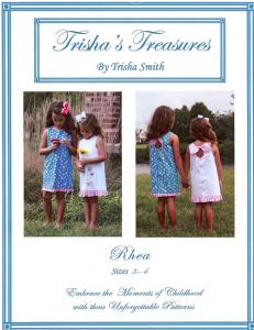 Trishas Treasures tt-rhea  Rhea  A Slightly A-line Style Dress Pattern Sizes 1 - 6  And 7 - 12