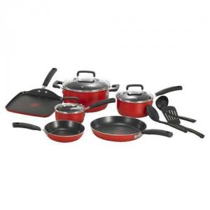 "T Fal C112sc64 Signature Total Non Stick 12 Piece Cookware Set, Red, 8 & 11"" Fry Pans, 10""sq Griddle, 1 & 2qt Sauce Pans, 5qt Dutch Oven, Lids, 3tools"