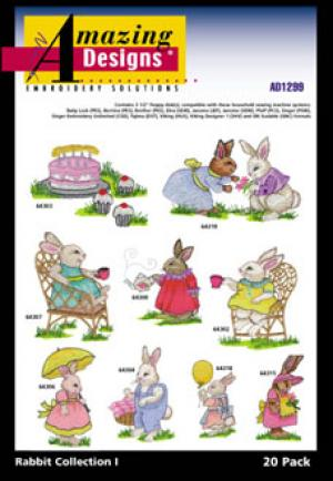 Amazing Designs 1299 Rabbit Collection I Embroidery Disk | Easter Baskets | Girl and Boy BunniesCarrying an Easter Basket