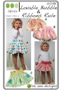 Olive Ann Designs OAD58 Loveable Bubbles & Ribbons Rule Skirts Pattern Sizes 1-6