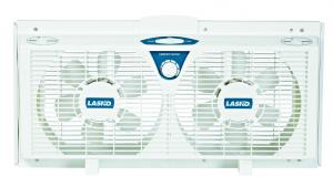 """Lasko 2138 8"""" Electrically Reversible Twin Window Fans, Thermostat, Whisper Quiet 2 Speed, Expander Panels Custom Fit Windows 25 to 35"""" Wide, 12"""" High"""