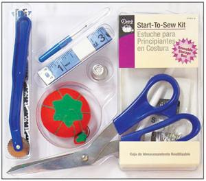 Dritz D27081, Start To Sew Kit, 7 inch Scissors, Trace Paper, trace Wheel, 60 inch, Tape Measure, Threader, Marking Pencil, Hand Sewing Needles, Pins, Cushion, Ripper, Thimble, Storage Box