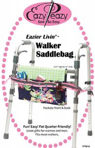 "Eazy Peazy 93-4409 Easy Livin' Walker Saddlebag Pattern, has pocket on front and back. Measures: 10-1/2"" high by 15"" wide."