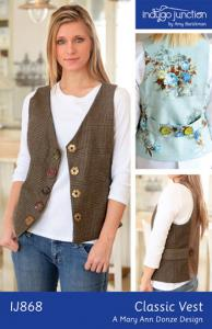 Indygo Junction IJ868 Classic Vest Pattern , V-neck vest. Hip Length With Flattering Princess Seamin