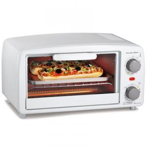Proctor-Silex 31116 4 Slice Toaster Oven - White, 15 Minute Timer, Bake Pan and Broil Function, Drop-down Crumb Tray, Automatic Shutoff and Ready Bell