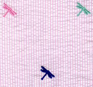 Fabric  Finders 15 Yard Bolt $11.33 A Yd Pink Multi Colored Dragon Flies Seersucker 100% Cotton, 60""