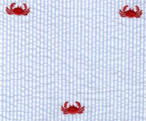 Fabric, Finders, 15, Yard, Bolt, 11.33, A, Red, Crab, On, Blue, Seersucker, 100%, Cotton, 60