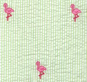 Fabric  Finders 15 Yard Bolt $11.33 A Yd Pink Flamingo On Green Seersucker 100% Cotton, 60""