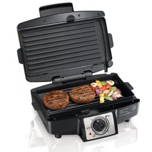 Hamilton Beach 25332 Easy-Clean Indoor Grill, 110sq inch Cooking Surface, Heats up to 500degrees F, Non-stick Grids, Drip Tray, Select Timer, Stay on Mode, Grills 4 Hamburgers at Once, Searing, Adjustable Temperature Controls