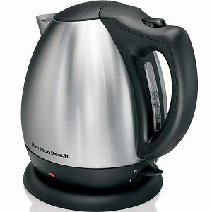 Hamilton Beach 40870 10 Cup Electric Kettle - Stainless Steel, Cord Free Serving, Auto Shut Off, Concealed Heating Element, Drip Free Spout, 1500Watts, On/Off Switch, Power Indicator Light
