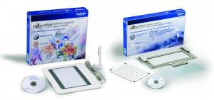 Brother Quattro Software UPGRADE Kits II & III, SAVR6000D2 Pen Pad for Created Design Import without computer, and SABF6000D2 Border Hoop & Alignment