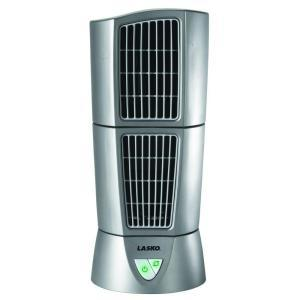 "Lasko 4910 Platinum Desktop Wind Tower Fan SILVER Metallic, 3 Speed Oscillatiion and Pivoting Top Module,, 14.4x6"" Dimensions, 4.5Lbs"