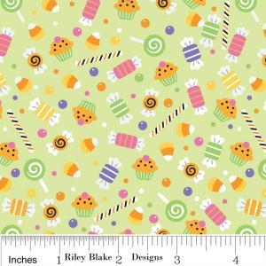 "Riley Blake Designs C2532 Green Trick or Treat  Candy 15Yd Bolt6.60 A Yd100%Cotton Pattern45""Fabric"