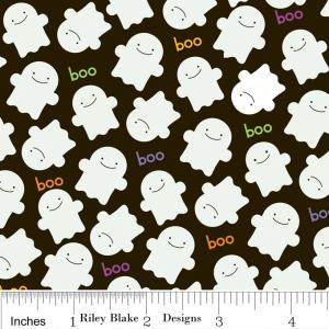 """Riley Blake Designs C2533 Black Trick or Treat  Ghosts 15Yd Bolt6.60 A Yd100%Cotton Pattern45""""Fabric"""