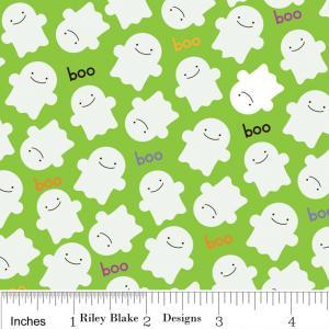 "Riley Blake Designs C2533 Green Trick or Treat  Ghosts 15Yd Bolt6.60 A Yd100%Cotton Pattern45""Fabric"
