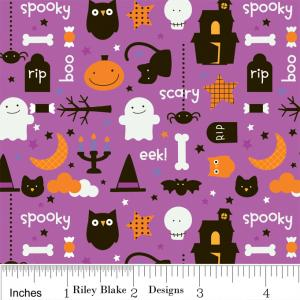 "Riley Blake Designs C2531 PurpleTrick or Treat  Night 15Yd Bolt6.60 A Yd100%Cotton Pattern45""Fabric"