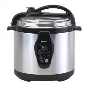 Nesco PC6-25 Digital Pressure Cooker, 6 Quart Capacity, Self-Locking Lid, Programmable with Presets, LED Display, Cooking Rack, Cool-Touch Lid