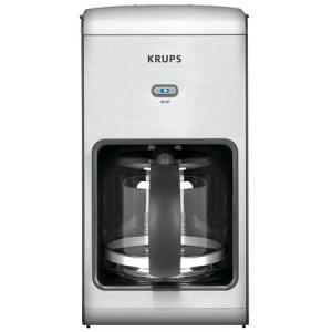 Krups KM1010 10 Cup Coffee Machine, Glass Carafe, Translucent Water Tank, 2 Hour Auto Off, Programmable Pause and Serve Feature