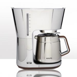Krups KT600 Silver Art Collection Stainless Steel Chrome Wood, 10 Cup Thermal Carafe