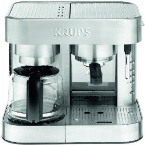 Krups XP604050 Stainless Steel Combination Espresso & Coffee Machine 10 Cup, 15 Bar Italian Pump, Frother, 50oz Water, Ground & Pods, NonStick (XP2280