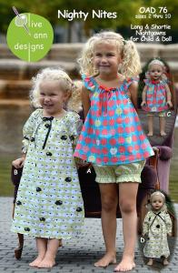 Olive Ann Designs OAD76  Nighty Nites Pattern For Children And Dolly sz 2-10