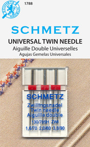 Schmetz S1788 3 Pack Twin Double Needles, Sizes 1.6mm/70, 2.0mm/80, 3.0mm/90