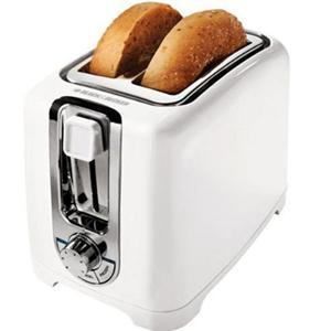 Black and Decker TR1256W 2 Slice Toaster, 850 Watts of Cooking Power, LED Indicator, Function Indicator Light, Cool Touch Housing, Defrost Function