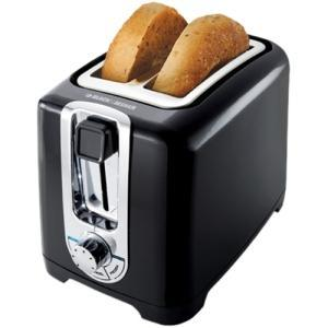 Black and Decker TR1256B 2 Slice Toaster BLACK, 850W, LED Indicator, Function Indicator Light, Bagel Button, Frozen Button, Cancel Button, Cool Touch