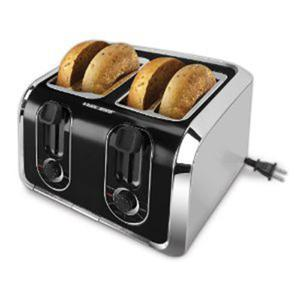 Black and Decker TR1400SB 4 Slice Toaster, Brushed Stainless Steel, Bagel Function, Reheat Function, Toasr Funstion, Defrost Function, Crumb Tray