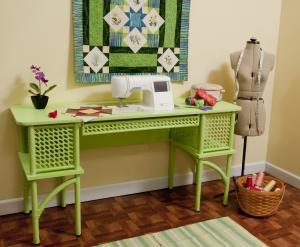 """Arrow Florie 1014 Pistachio Green Classic Wicker Sewing Machine Cabinet 60x20x30""""H, Freearm or Flush Mount Flatbed Position Platform 23-3/4""""Wx12-3/8""""D, 2Cubbies"""