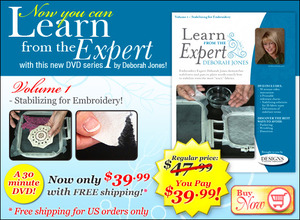Learn, Expert, Deborah, Jones, Volume, 1, DVD, Stabilizing, Embroidery, DVD