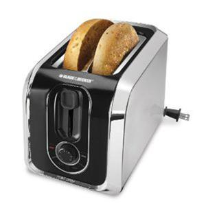 Black & Decker TR1200SB 2 Slice Toaster, Reheat, Bagel, Crumb Tray, Stainless Steel/Black