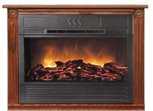 Heat Surge HS-RG2R Roll-n-Glow Electric Fireplace 1500 Watts, 4606 BTU, Amish Crafted Real Wood Mantle Dark Oak, Casters, Assembled, Factory Serviced