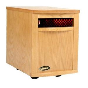 "SunHeat SH-1500 Electronic Infrared Zone Heater (Golden Oak) Casters, 13x19.5x17.5"", 1000SqFt,1500W, 12.5A, 7-10 Min. Free Heat,140CFM,3 Ply Filter"