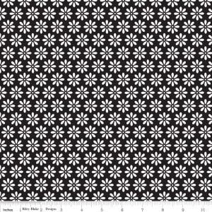 """Riley Blake Designs 15Yd Bolt 7.34 A Yd C2694 Black Tuxedo Daisy 100% Cotton  45""""Fabric"""