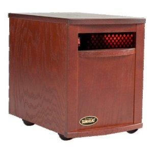 "SunHeat SH-1500 Electronic Infrared Zone Heater (Mahogany) Casters, 13x19.5x17.5"", 1000SqFt, 1500W, 12.5A, 7-10 Min. Free Heat,140CFM,3 Ply Filter"
