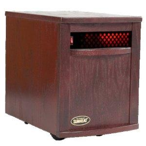 "SunHeat SH-1500 Electronic Infrared Zone Heater (Black Cherry) Casters, 13x19.5x17.5"", 1000SqFt, 1500W, 12.5A, 7-10 Min. Free Heat,140CFM,3 Ply Filter"
