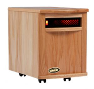 "SunHeat SH-1500 Electronic Infrared Zone Heater (Natural Oak) Casters, 13x19.5x17.5"", 1000SqFt, 1500W, 12.5A, 7-10 Min. Free Heat,140CFM,3 Ply Filter"