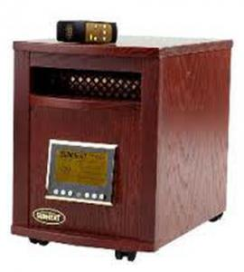"SunHeat SH-1500RC Electronic Infrared Zone Heater (Mahogany) Casters, 13x19.5x17.5"", 1000SqFt, 1500W, 12.5A, Digital Thermostat, Remote Control"