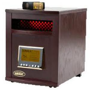 "SunHeat SH-1500RC Electronic Infrared Zone Heater (Black Cherry) Casters, 13x19.5x17.5"", 1000SqFt, 1500W, 12.5A, Digital Thermostat, Remote Control"