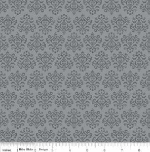 """Riley Blake Designs 15Yd Bolt 7.34 A Yd C2696 Gray Tuxedo Damask 100% Cotton  45""""Fabric"""